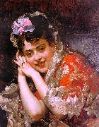 Raimundo de Madrazo y  Garreta The Model Aline Masson with a White Mantilla oil painting picture wholesale