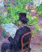 Henri  Toulouse-Lautrec Desire Dihau Reading a Newspaper in the Garden oil painting