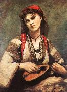 Jean Baptiste Camille  Corot Gypsy with a Mandolin oil painting picture wholesale