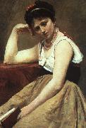 Jean Baptiste Camille  Corot Interrupted Reading oil painting picture wholesale