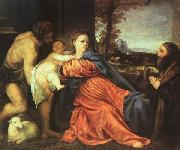 Titian Holy Family and Donor oil painting picture wholesale