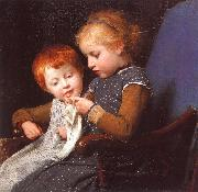 Albert Anker The Little Knitters oil
