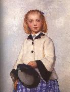 Albert Anker The Artist's Daughter Louise oil