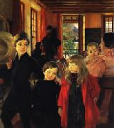 Albert Besnard A Family oil