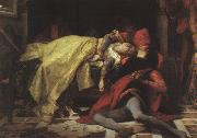 Alexandre  Cabanel The Death of Francesca da Rimini and Paolo Malatesta oil painting artist