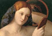 BELLINI, Giovanni Naked Young Woman in Front of the Mirror (detail) oil painting reproduction