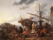BERCHEM, Nicolaes A Southern Harbour Scene oil painting artist
