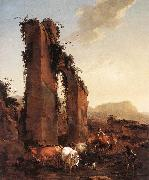 BERCHEM, Nicolaes Peasants with Cattle by a Ruined Aqueduct oil