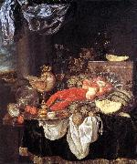 BEYEREN, Abraham van Large Still-life with Lobster oil painting artist