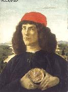 BOTTICELLI, Sandro Portrait of an Unknown Personage with the Medal of Cosimo il Vecchio  fdgd oil painting picture wholesale
