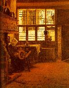 BOURSSE, Esaias Interior with a Woman at a Spinning Wheel fdgd oil painting picture wholesale
