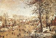 BRUEGHEL, Pieter the Younger Winter Landscape with a Bird-trap oil