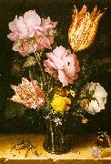 Berghe, Christoffel van den Bouquet of Flowers on a Stone Ledge oil painting artist