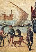 CARPACCIO, Vittore Arrival of the English Ambassadors (detail) f oil painting artist