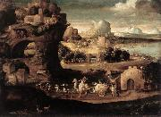 CARPI, Girolamo da Landscape with Magicians fs oil