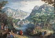 CONINXLOO, Gillis van Mountain Landscape with River Valley and the Prophet Hosea dsg oil painting artist