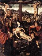 CORNELISZ VAN OOSTSANEN, Jacob Crucifixion with Donors and Saints fdg oil