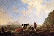 CUYP, Aelbert Herdsmen with Cows dfg oil