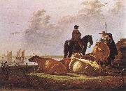 CUYP, Aelbert Peasants with Four Cows by the River Merwede dfg oil