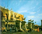 Canaletto Capriccio, The Horses of San Marco in the Piazzetta Germany oil painting reproduction