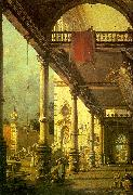 Canaletto Capriccio, A Colonnade opening onto the Courtyard of a Palace Germany oil painting reproduction