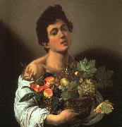 Caravaggio Youth with a Flower Basket oil