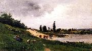 Charles-Francois Daubigny Washerwomen on the Riverbank oil painting picture wholesale