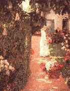 Childe Hassam Gathering Flowers in a French Garden oil