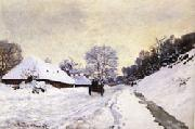 Claude Monet The Cart Snow-Covered Road at Honfleur oil painting picture wholesale