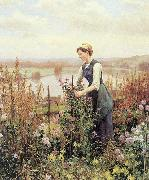 Daniel Ridgeway Knight Arranging Flowers oil
