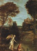 Domenichino Landscape with Tobias Laying Hold of the Fish oil painting picture wholesale