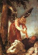 ESCALANTE, Juan Antonio Frias y An Angel Awakens the Prophet Elijah dfg oil