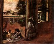 Edgar Degas Children Sat Down in the House Door oil painting picture wholesale