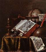 Edwaert Collier Still Life with Musical Instruments, Plutarch's Lives a Celestial Globe oil painting artist