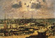 Eugene Buland The Port of Bordeaux oil