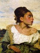 Eugene Delacroix Girl Seated in a Cemetery oil painting picture wholesale