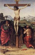 FRANCIA, Francesco Crucifixion with Sts John and Jerome de oil