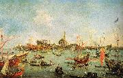 Francesco Guardi The Doge in the Bucentaur at San Nicolo di Lido on Ascension Day oil painting artist