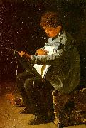 Francois Bonvin Seated Boy with a Portfolio oil painting picture wholesale