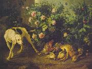Francois Desportes Dog Guarding Game near a Rosebush oil painting artist