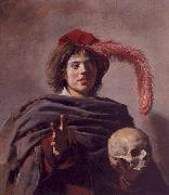Frans Hals Portrait of a Young Man with a Skull oil painting artist