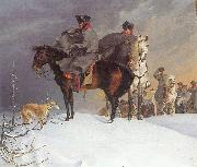 Franz Kruger Prussian Cavalry Outpost in the Snow oil painting artist