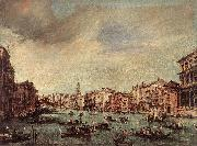 GUARDI, Francesco The Grand Canal, Looking toward the Rialto Bridge sg oil