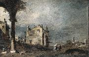GUARDI, Francesco Capriccio with Venetian Motifs sg oil