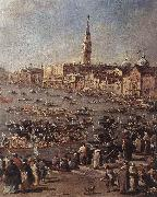 GUARDI, Francesco The Doge on the Bucintoro near the Riva di San Elena (detail) oil