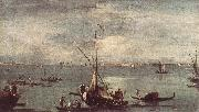 GUARDI, Francesco The Lagoon with Boats, Gondolas, and Rafts kug oil