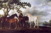 George Stubbs Mares and Foals in a Landscape oil painting artist