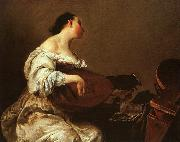 Giuseppe Maria Crespi Woman Playing a Lute oil painting picture wholesale