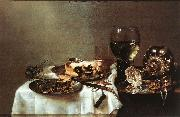 HEDA, Willem Claesz. Breakfast Table with Blackberry Pie sf oil painting artist