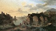 HEUSCH, Jacob de River View with the Ponte Rotto sg oil painting artist